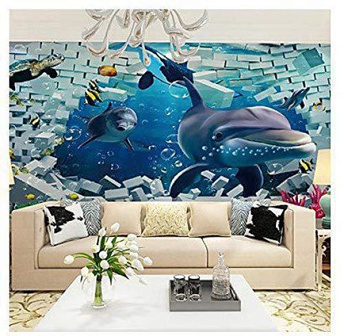 Fototapete Tapete Leinwand Wandverkleidung Kleber Art Deco Muster 3D Meerestier Kinderzimmer Tapete,500cmx350cm