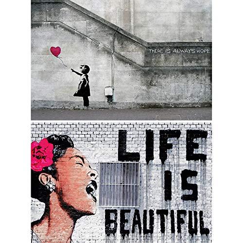 GREAT ART Set di 2 XXL Poster – Banksy Life is Beautiful & Balloon Girl – Graffiti Street Art Stencil Pop Art Artista Decoratione da Parete Foto Poster Murale (140 x 100cm)