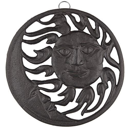 gasaré, Cast Iron Trivet, Sun and Moon Decor, for Hot Dishes, Pots, Pans, Kitchen, Rubber Feet Caps, Ring Hanger, 8 Inches, Rustic Brown Finish, 1 Unit