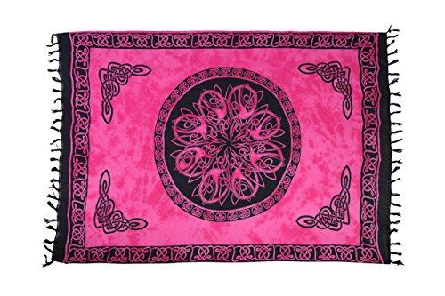 Ciffre Sarong Pareo Wickelrock Strandtuch Tuch Wickeltuch Handtuch Bunte Sommer Muster + Schnalle Keltisch Pink