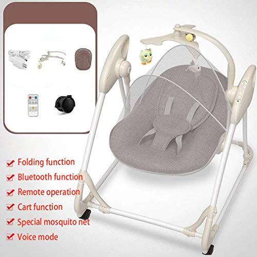 ZWQ kids Chaise à Bascule électrique, inclinable Berceau Pliant bébé, Chaise de Confort Nouveau-né endormi, Le Shaker Enfants, adapté pour 0-2 bébé,B