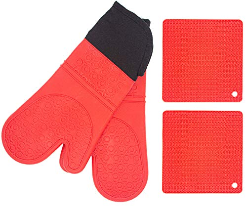 Silicone Oven Mitts And Pot Holders Set 4pcs Advanced Heat Resistant Silicone Oven Gloves And Kitchen Pot Holders NonSlip Textured Trivet Mats Kitchen Mittens For Cooking BBQ