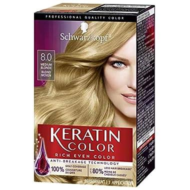 Schwarzkopf Keratin Color Anti-Age Hair Color Cream, 8.0 Silky Blonde (Packaging May Vary)