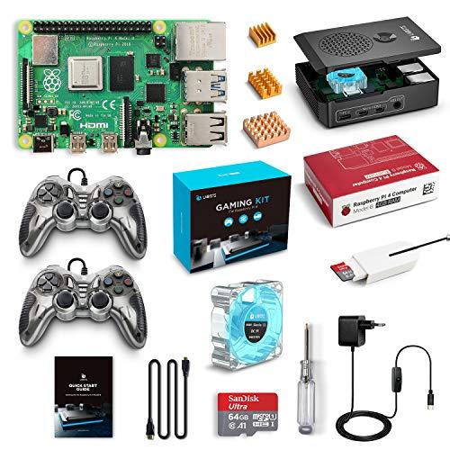 LABISTS Raspberry Pi 4 4GB Retro Gaming Kit con SD de 64GB y 5.1V 3A Tipo C con Interruptor, RPi Barebone con 3 Disipadores de Calor, 2 mandos, Ventilador, Micro HDMI, Lector de Tarjetas y Caja Negra