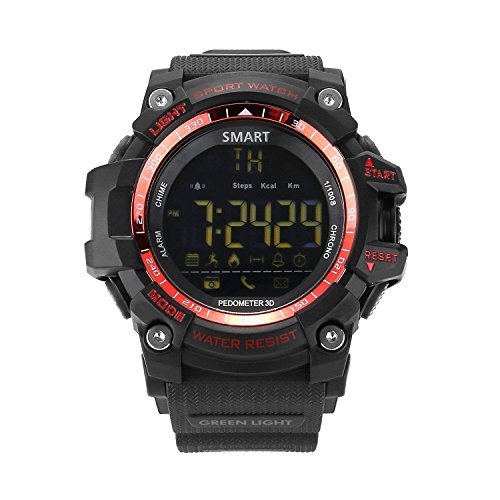 UMEI Mens Military Smart Watch, EX16 Bluetooth 4.0 Digital LED Watch 5ATM & IP67Outdoor Waterproof Bluetooth Sport Smart Watch with Android and iOS Smartphones (Red)