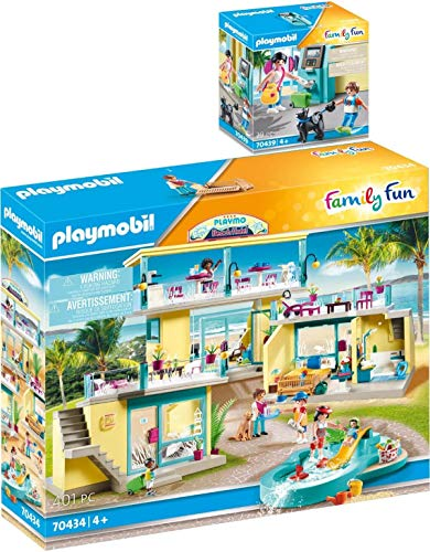 Playmobil® Family Fun 2er Set 70434 70439 Beach Hotel + Urlauber mit Geldautomat