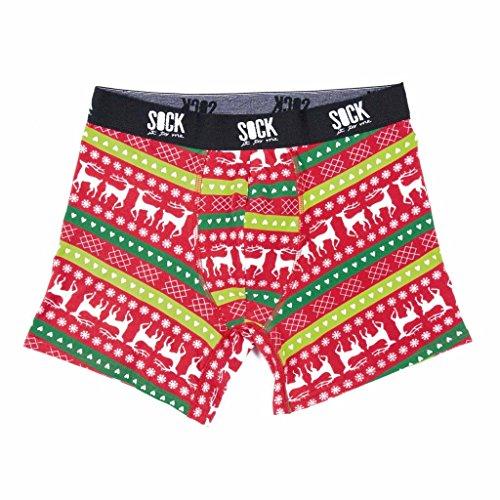 Sock It To Me Boxershort voor heren, Kerstmis, maat M, L, XL - grappige boxershort van zacht katoen passend bij de herensokken
