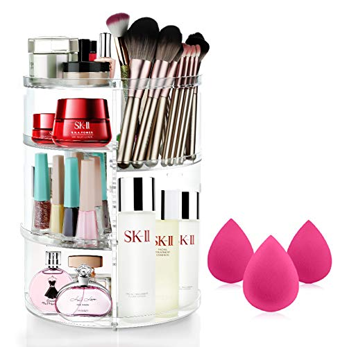 MOKARO 360 Degree Rotating Makeup Organizer with 3 Pcs Makeup Sponge for Mothers Day Gifts,7 Layers Adjustable Cosmetic Display Case for Countertop,Large Storage Box Makeup Brush Holders