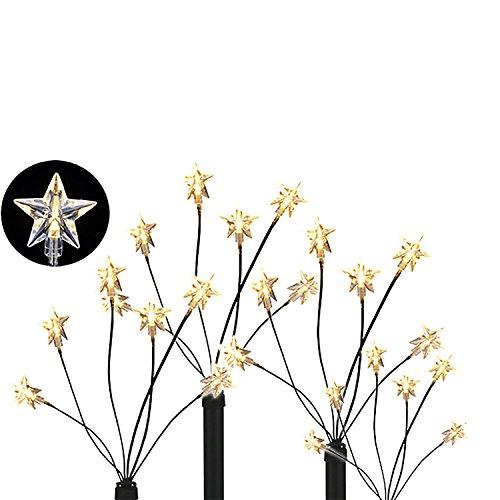 LED - Gartenleuchtstäbe 'Stern' 4er Set 6 Lichter per Stab, inkl. Erdspiesse