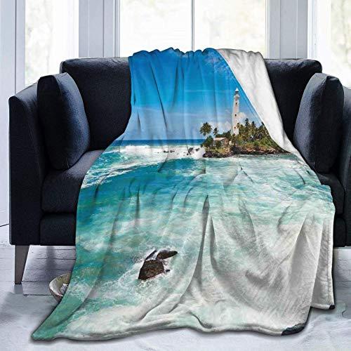 Manta de forro polar ultra suave para adultos anti polar, faro de la isla tropical con palmeras, rocas onduladas junto al mar, playa, océano, suave y cómoda manta de sofá