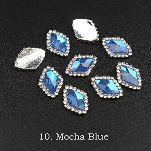 Mokka Diamant Tropfenform Diamant Kristall Rhinstone für Nägel Metall Schmuck 3D Nailart DIY Charms, Blau Rhombus Mokka Silber Kralle