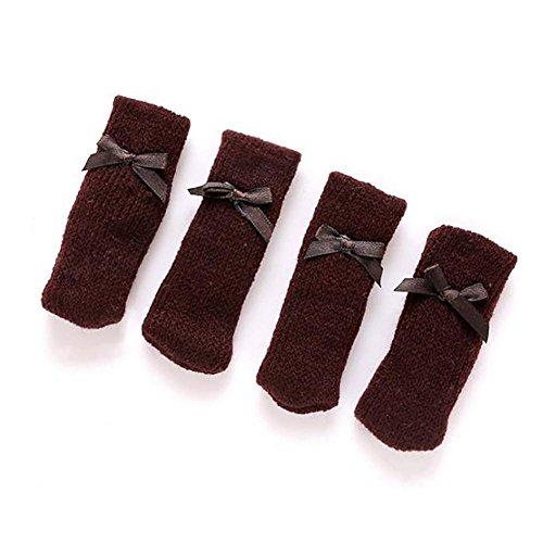 Fdit 4pcs meubels sokken breien wol meubels stoel benen hardhout vloerbescherming meubelkappen set MEERWEG AANBIEDING