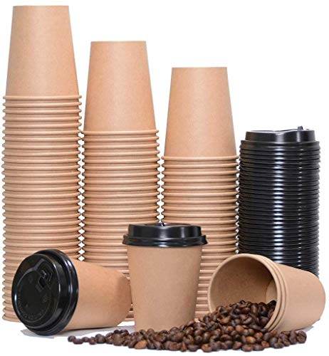 Insulated Paper Coffee Cups [50 Pieces 4oz Paper Cups + Free 50 Black Lids] 4oz, 8oz, 10oz, 12oz Single Wall Kraft Brown Eco Bamboo Bio Unbleached Cup for Party Wedding Anniversary Birthday Supplies