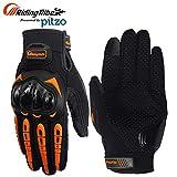 PITZO Probiker Tribe Full Finger Riding Gloves (Orange, Large)