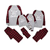 Family Matching Pajamas Long Sleeve Top and Pants Christmas PJs Sleepwear Set (Baby : 0-6 Months, Grey+Red)