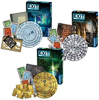 Thames & Kosmos Exit Games: Polar Station, Forbidden Castle, and Forgotten Island (Set of 3)