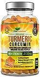 Organic Turmeric Curcumin 2130mg with Ginger and Black Pepper - 180 Vegan Capsules