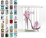 Duschvorhang, viele schöne Duschvorhänge zur Auswahl, hochwertige Qualität, inkl. 12 Ringe, wasserdicht, Anti-Schimmel-Effekt (180 x 200 cm, Schuh)