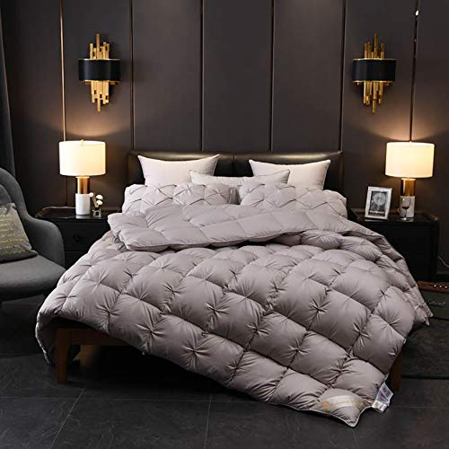 King Size Duvet - 13.5-15 Tog Luxurious Goose Feather & Down Quilt, Filling: 95% Velvet, 100% Cotton Shell, Feather-Proof Fabric Anti-Allergen,Gray,200x240CM 15 TOG