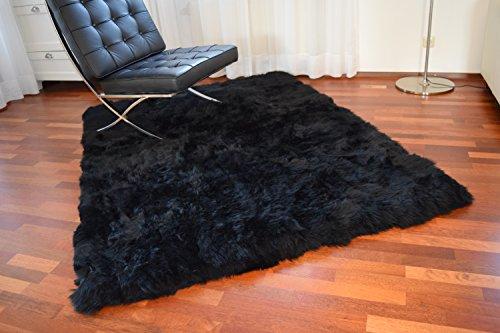 Naturasan Designer Öko Schaffell-Teppich 150 x 200, Hochflor Langflor, Shaggy, Flokati, Lounge Fellteppich Lammfellteppich (Schwarz/Black)