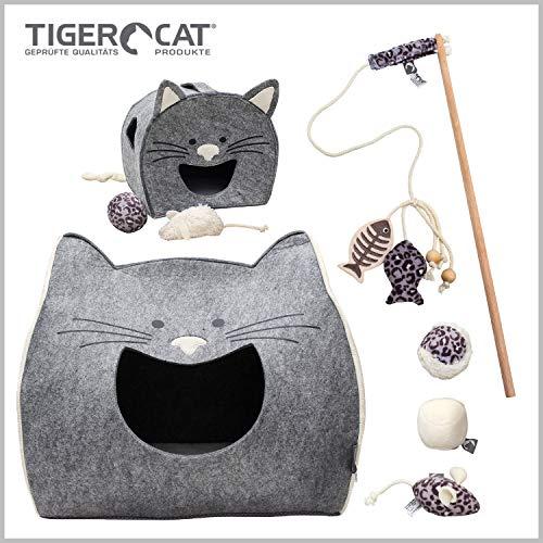 Tiger Cat Premium Set: 8 Teile Katzenhöhle Maxi, Spielhaus Charly und Spielset MÄUSE-BÄLLCHEN Mit Plüsch 100% Bio-Baumwolle Katzenspielzeug Maus Ball Glöckchen