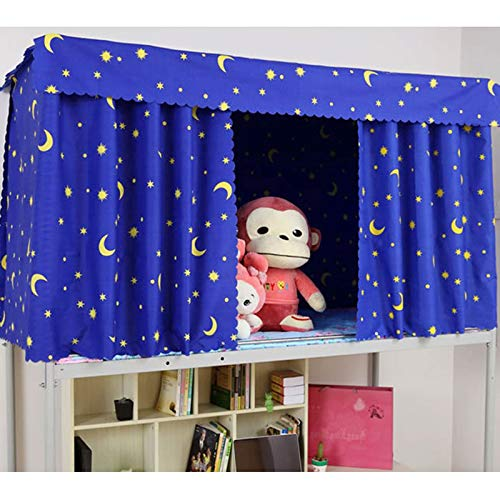 Heidi Galaxy Star Bed Canopy Single Sleeper Bunk Bed Curtain Student Dormitory Blackout Cloth Mosquito Nets Bedding Tent (Blue)