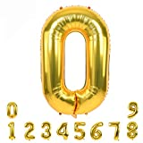 40 Inch Gold Large Numbers Balloon 0-9(Zero-Nine) Birthday Party Decorations,Foil Mylar Big Number Balloon Digital 0 for Birthday Party,Wedding, Bridal Shower Engagement Photo Shoot, Anniversary