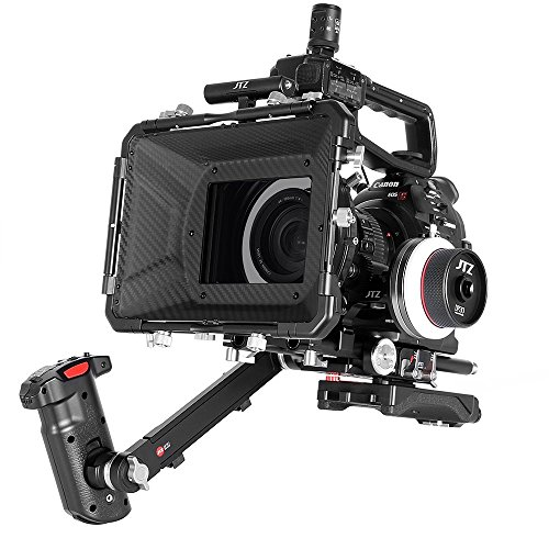 JTZ DP30 Camera Cage with 15mm Rail Rod Baseplate Rig+Shoudler Pad and Electric Handle Grip+4×4' Carbon Fiber Matte Box+Follow Focus+Power Supply(LE Version) for Canon EOS C100 C300 C500 Mark II