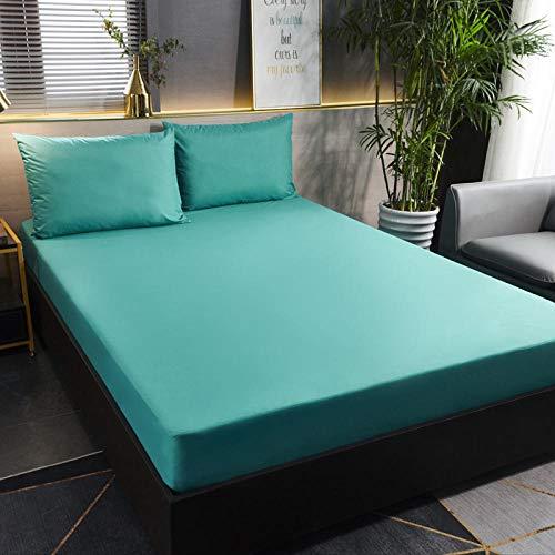 GmanXier Sábana Ajustable Impermeable cepillada de Color Puro, Individual, Doble, King, colchón, protección, sábana, sábana-FEl 180 * 200cm