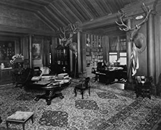 1910 photo Library(?) at Theodore Roosevelts home, Sagamore Hill, Long Island f3
