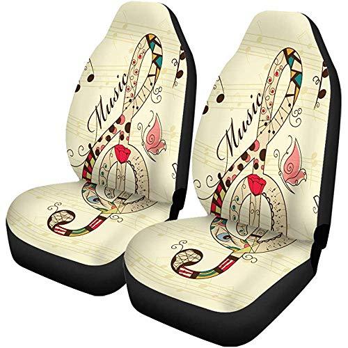 Beth-D set van 2 autostoelhoezen Red Music Musical Violiesleutel Pop Note Festival instrument auto voorstoelen protector geschikt voor auto, SUV limousine, vrachtwagen