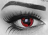 Funnylens - Par de lentes de contacto de color rojo para cosplay itachis manga, perfectas para Halloween, carnaval o carnaval, con estuche para lentillas, sin graduación.