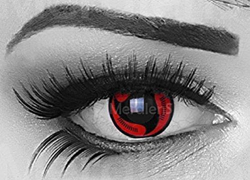 Lenti a contatto colorate rosse con porta lenti a contatto rosso nero Itachi Sharingan -morbide comode da indossare e ideali per Halloween Manga Anime Cosplay senza correzione Meralens