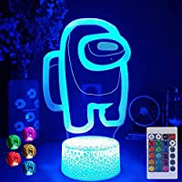Among Us 3d Illusion Table Lamp, 16 Colors Illusion Neon Sign Among Us Game Table Lamp, USB Powered 7 Colors LED Lights with Remote
