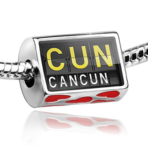 NEONBLOND Bead with Hearts CUN Airport Code for Cancun - Charm Fit All European Bracelets