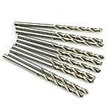 SUPERTOOL - Punte per trapano in acciaio HSS ad alta velocità, 0,8 mm, gambo dritto, per legno, plastica, alluminio (10 pezzi)