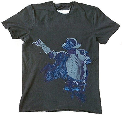 Amplified–Camiseta para hombre gris charcoal Antracita Official Michael Jackson personalizada Rock Star Club Vintage VIP Rock Star Diseño gris 50/52