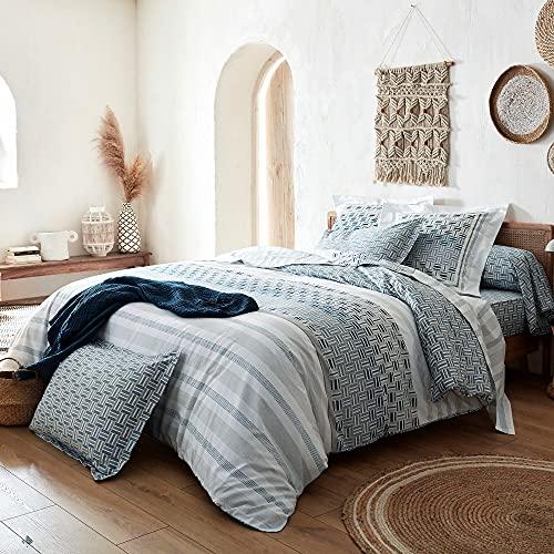 Juego de cama de 240 x 220 cm, 100% algodón Diego azul Báltico 3 piezas