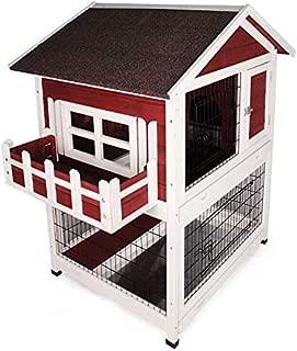 Outdoor Luxury Rabbit Hutch, Wooden Bunny Cages Indoor with Balcony Window Sun Protection Waterproof Roof, Pet Villa