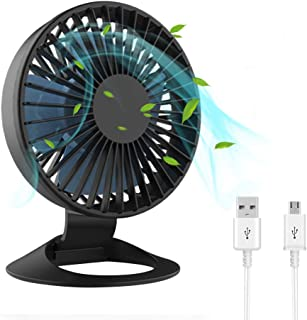 Mini Desk Fan, USB Table Fan with 3 Speeds, Strong Airflow Ultra Quiet Operation Rechargeable Battery Operated Portable Pe...