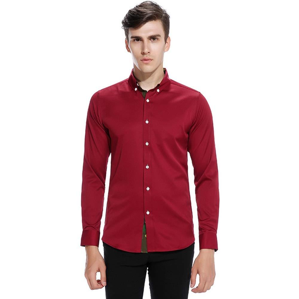 Camisa de los Hombres Camisa de Manga Larga con Tapeta de Color a Juego de Solapa Masculina Camisas de Vestir para Hombre (Color : Vino Rojo, tamaño : Metro): Amazon.es: Hogar