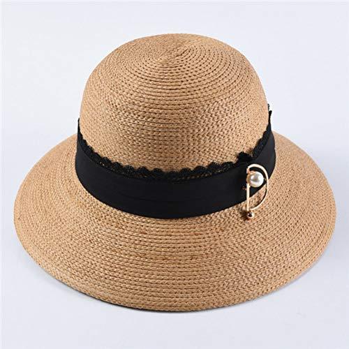 Fxhang vrouwen strohoeden grote rand parel pin decoratie zon hoeden casual ademende strand hoed
