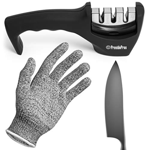 Kitchen Knife Sharpener: 3 Stage Knife Sharpening Tool Repair, Restore, Polish Steel and Ceramic Blades - Cut Resistant Glove Included