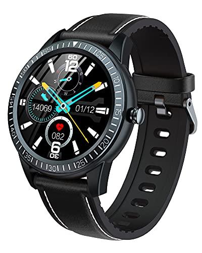 BNMY Smartwatch Pulsera Inteligente Reloj Inteligente 1.28 Pulgadas Prueba Agua Ip67 Reloj para Contestar El Teléfono Rastreador Ejercicios con Monitor Frecuencia Cardíaca para Hombre Y Mujer,Negro