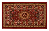 "Medallion Traditional Persian Oriental Design Mat Red Color Printed Slip Skid Resistant Rubber Back (Red, 18""x30"" Mat')"