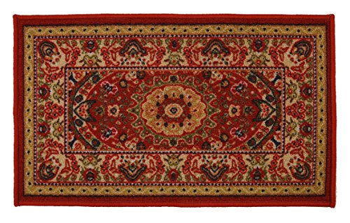 """Medallion Traditional Persian Oriental Design Mat Red Color Printed Slip Skid Resistant Rubber Back (Red, 18""""x30"""" Mat')"""