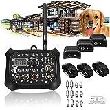 QXbecky Trasmettitore Wireless per Cani Pet Recinzione Elettronica Senza Fili Sistema di contenimento Collare addestramento Esterno trasmettitore+ 3Ricevitore