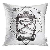 Copertura del cuscino da tiro Luna Romantico Bellissimo disegno di clessidra Tattoo Design Simbolo del tempo mistico per l'uso Geometria Sabbia Fodera per cuscino decorativo Decorazioni per la casa Fe