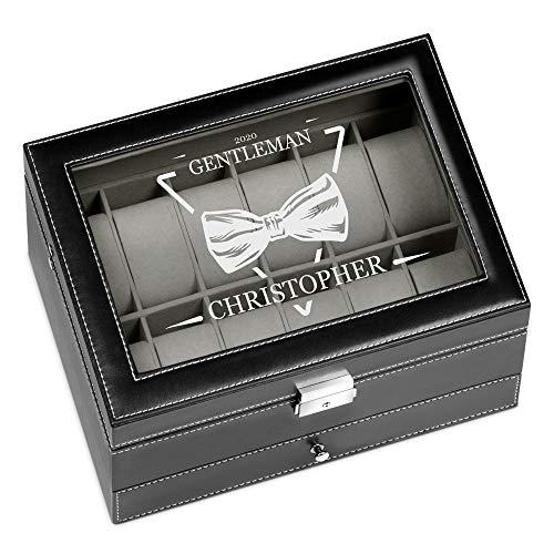 Murrano Uhrenbox mit Gravur für 12 Uhren & Schmuck - 30x20x13cm - Uhrenkasten aus Kunstleder - Schwarz - Geschenk für Männer - Gentleman
