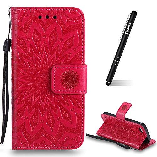Schutzhülle für iPhone SE Rot,Slynmax Mandala Hülle Wallet Case Handyhülle für iPhone 5/5s/SE Tasche Leder Klapphülle Flip Cover Lederhülle Holster Stoßfest Stand Kartenfächer Magnetverschluss